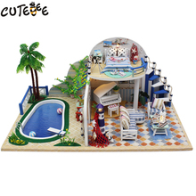 Doll House Furniture Diy Miniature Dust Cover 3D Wooden Miniaturas Dollhouse Toys for Christmas -Clear summer Villas X003