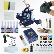 Complete Tattoo Machine Kit Set 2 Coils Guns 6 Colors Black Pigment Sets Power Tatoo Beginner Grips Kits Permanent Makeup(China)