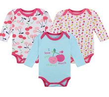 YL] 3pcs Pack of Fashion Children Bodysuits for Baby Boy and Girl Long Sleeve Jumpsuit for Baby at 3 months to 24 monthes BEBES