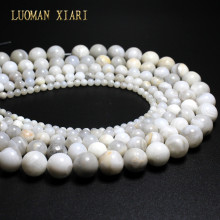 AAA+ Wholesale White Crazy Agat  Natural Stone Beads For Jewelry Making Stone DIY Bracelet Necklace 4mm 6mm 8mm 10mm 12mm 15''