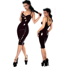 Buy Free Shipping Tight Sexy Faux Leather Latex Catsuit Clubwear Sexy Erotic Dress Leather Fetish Latex PVC Catsuit Clubwear