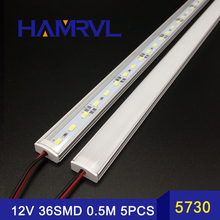 LED Bar Lights 50CM 5730 rigid strip Kitchen led light bar 36LEDs DC12V LED Hard LED Strip with U flat cover 5pcs 50cm(China)