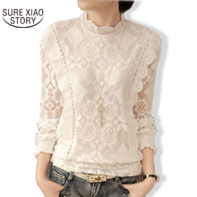 New Arrival 2016 Autumn Women Blouses Long Sleeve Fashion Casual Chiffon Shirts Stand Floral Lace Blouses Plus Size Tops 07F 25(China)