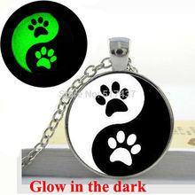 Glow in the dark Necklace Ying Yang Necklace Glass Tile Necklace  Dogs prints  Black and White art photo glass  glowing jewelry