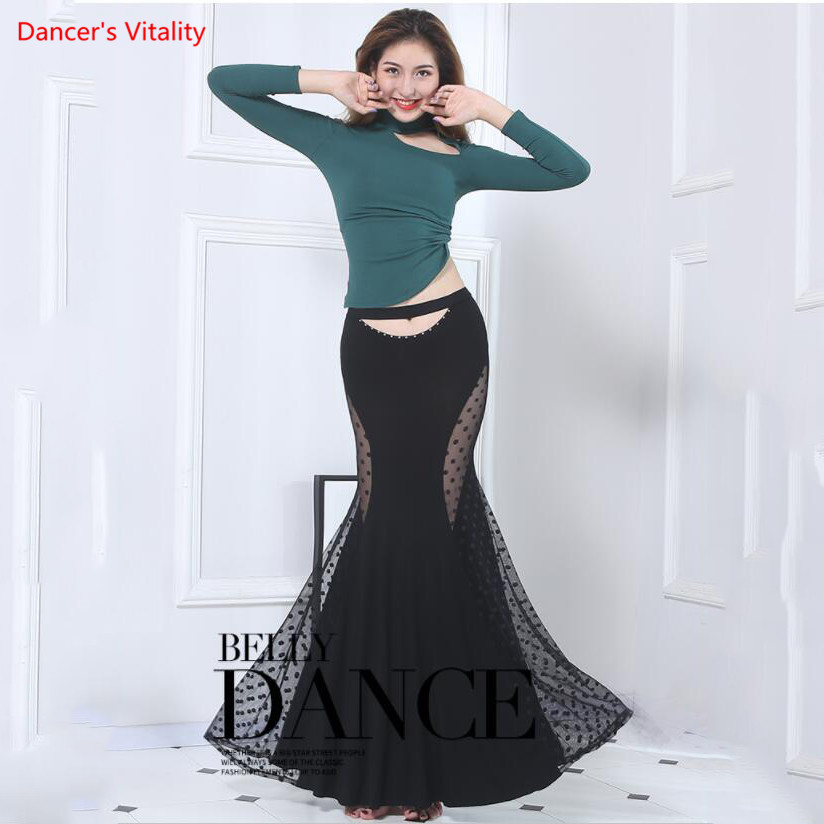 Belly Dance Clothes Oriental Dancers Adult Women Sexy Cotton Lace Long Skirt+Modal Top Suits 2pcs Performance Dance Clothing