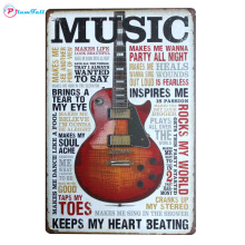 Music Guitar Metal Sign Wall Art Painting Plaque Vintage Metal Plate Retro Tin Sign Home Decor Bar Pub Cafe