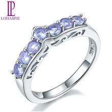 Lohaspie Natural Tanzanite Promise Ring Pure 925 Sterling Silver Wedding Band Rings Gemstone Jewelry For Women's Gift New