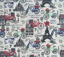 bicycle and black tower printed linen cotton fabric DIY hand printing and dyeing cloth for sofa/luggage/tablecloth/cushion
