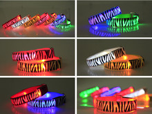 50pcs/lot led wrist band with zebra print flashing armband halloween christmas party decortion outdoor event lighting bracelet(China)