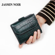 JASMIN NOIR 2017 New crocodile pattern leather women wallet short small wallet buckle fashion cute purse bag for ladies notecase
