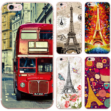 Cute Pretty Bus Iron Tower Design Pattern Case for iphone 5 5S SE 6 6S 7 Transparent Soft Silicon TPU Phone Back Cover Cases bag