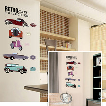 7213^ retro cars collections wall stickers crazy fans room decor pvc children wall art diy boys girls kids room car sticker