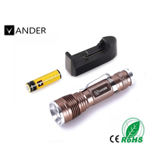 Color Bronze CREE 3 Modes Q5 LED Flashlight Mini 18650 Rechargable Torch Light+Battery Charger 2017 Wholesales