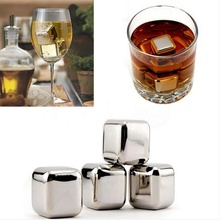 4pc Stainless Steel Ice Cubes Ice stones Whiskey Stones Soapstone Glacier Cooler Stone Edible Alcohol Physical Cooled Bar Tool