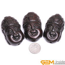 30x49mm Big Hole 1.2mm Black Wood Buddha Head Carved Beads For Jewelry Making Bulk 3 Pcs For Gift Wholesale(China)