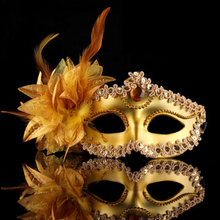 Halloween Venice Half Face Lily Feather Mask Fancy Ball Party Princess Mask Masquerade Masks Female Ladies Big Flower Golden(China)
