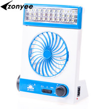 Zoynee Multi-Function Portable Mini Solar Light Fan Solar Energy Min Electric Fans LED With Flashlight Rechargable Lamp