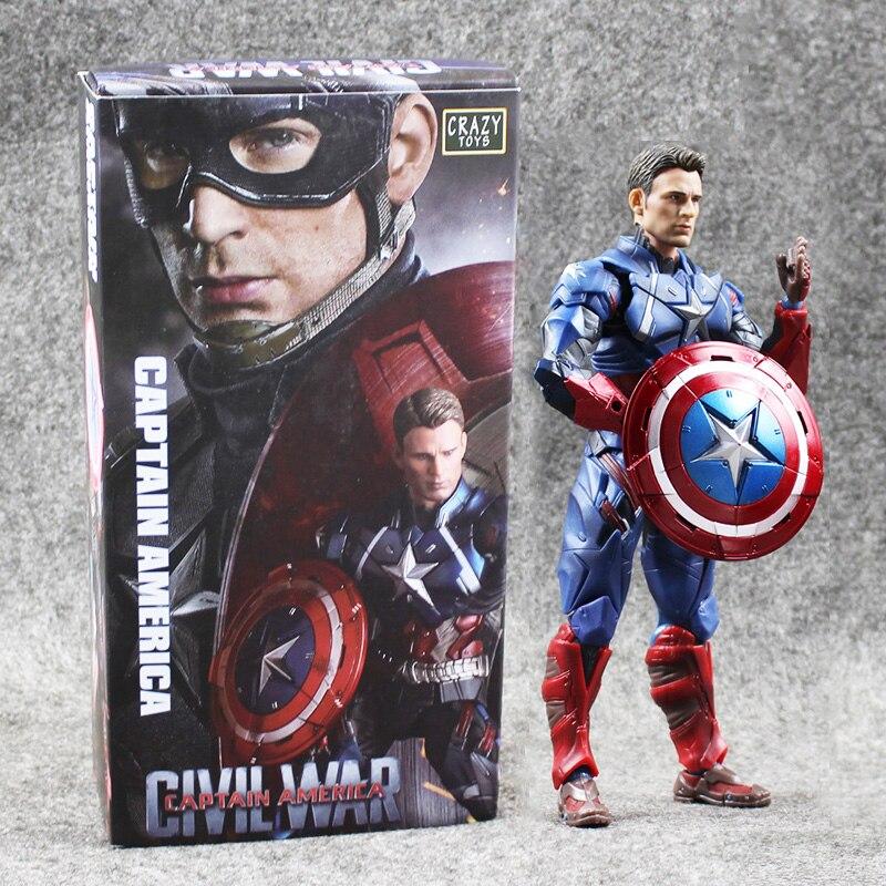 615.5cm Crazy Toys Civil War Superhero The Captain America PVC Action Figure Collection Model Toy Kids Toy<br>