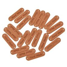20pcs/lot Retro Brown Synthetic PU Leather Handmade Label Tags DIY Sew Craft Patch Garment Labels ZXY9215(China)