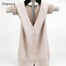 smpevrg 2017 autumn winter cashmere women sweater and cardigans long sleeve big V-neck sexy knitted cardigan soft wool clothes(China)
