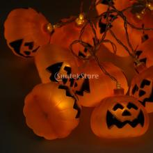 Halloween Pumpkin String Light Party Strip Lamp 12-LED Decor Warm White