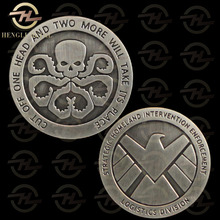 5 pcs/lot Marvel Avengers Agents of shield S.H.I.E.L.D Badge Hydra Skull American Challenge Antique Silver Plated Coin