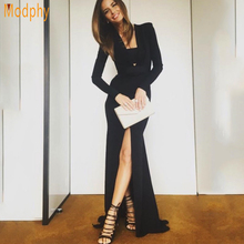 Modphy 2017 New Sexy Women Full Sleeve V Neck Hollow Out Split Floor Length Long Celebrity Party Bandage Dress Drop ship HL749