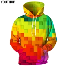 YOUTHUP 2018 Rainbow Color Hoodies Men 3D Hoodies Plaid Print Funny Hooded Sweatshirts Men Casual Cool 3d Hoody Autumn Outwear