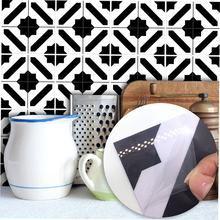 Black And White Moroccan Style Tile Stickers Bedroom Living Room Kitchen Waterproof Wall Stickers Decorative(China)