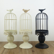 Handmade metal candleholder vintage home decorative table floor tall birdcage candle holder for wedding