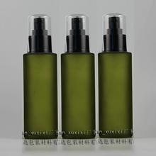 100ml olive green frosted Glass travel refillable perfume bottle with black plastic atomizer/sprayer,perfume container