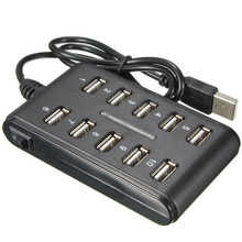 10 Port Hi-Speed USB 2.0 Hub + Power Adapter for PC Laptop Computer mice keyboard External drives use USB HUB 2.0