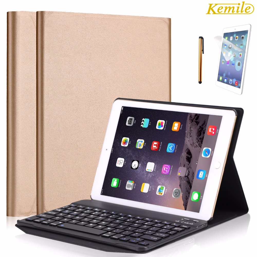 Kemile Environmental PU Case Cover for iPad Pro 9.7 Wireless Bluetooth Luxury Aluminum Alloy Keyboard for iPad air/air2&amp;For ipad<br>