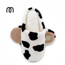 Millffy unisex cute cows home cotton trailer couple lovers autumn winter home slippers PU indoor wooden floor silent slippers(China)