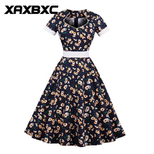 XAXBXC 2017 Autumn Boat Neck Vestido Daisy Floral Prints Bowknot Belt 1950s Vintage Swing Women Dress Evening Party Plus Size(China)
