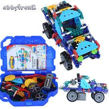 Abbyfrank DIY Car Model Puzzles Assemble Electric Motor Building Kits 154 Blocks Plastic 3D Puzzles Toys For Children Adults