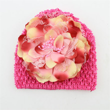 Winter Warm Handmade Cute Peony Flowers Kids Hats for Girls Crochet Beanie Knitted Cap Kids  Photo Props Accessories