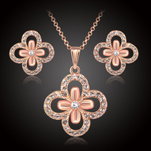 Trendy flower jewelry sets for women Austrian Crystal african wedding rose gold Color fashion girls party necklace earrings set