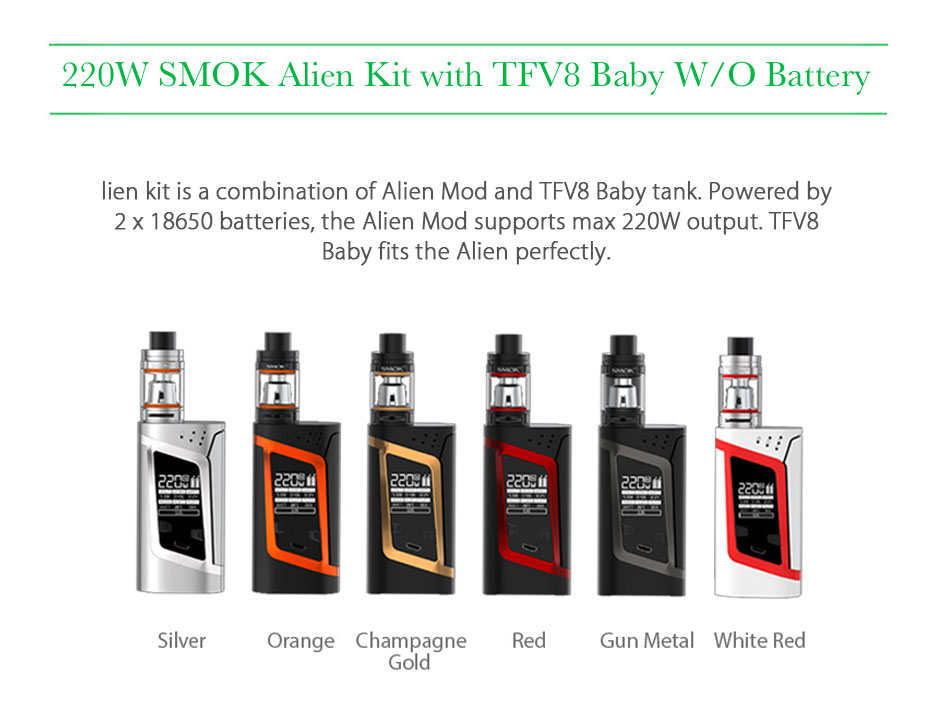 Original 2W SMOK Alien Vape Kit with 3ml Smok TFV8 Baby Tank Atomizer & Box Mod E-cig Starter Kit VS Smok G-priv/G3/GX350 3