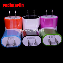redbearlin 200pcs/lot 5V 1000MA 1A university double color egg roll style us wall charger plug for iphone 4 5 6 for samsung(China)