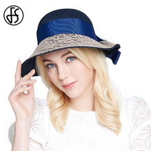 FS Summer Linen Hat Floppy Sun Visor Hats 2017 Women Wide Brim Straw Cap Elegant Bow Uv Beach Sombreros Casquette(China)