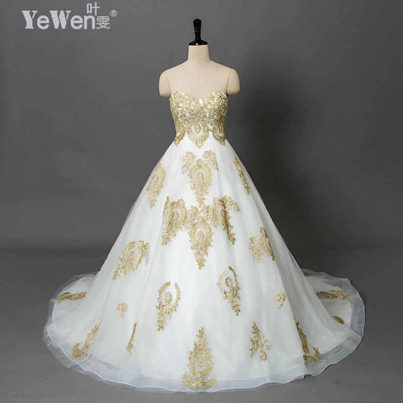 vintage beach plus size Gold white Sweetheart vestidos de novia praia cheap wedding dresses 2018 Lace