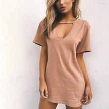Buy 2017 Sexy V Neck Cotton Summer Dresses Female Solid Casual Loose Dress Women A-Line Casual Mini Vestidos Plus Size 3XL for $3.50 in AliExpress store