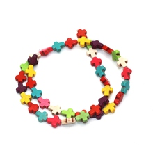 40pcs/lot New Arrival Mixed Color Natural Stone Cross Beads For DIY Handmade Necklace Bracelet Gift 10x8mm