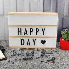 DIY Cinema LED Lamp A4 Cinematic Light Box Desk Night Light Room Wedding Party Decor With Numbers Letter Card Plastic/Wooden