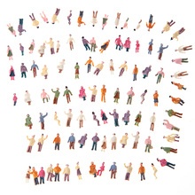 100pcs Mini Model People ABS Plastic N Scale 1:150 Mix Painted Model People Train Park Street Passenger People Figures(China)