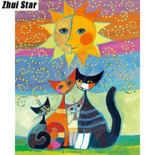 "Full Square Diamond 5D DIY Diamond Painting ""The cat under the sun"" Embroidery Cross Stitch Rhinestone Mosaic Painting Decor(China)"