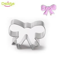Delidge 1pc Stainless Steel Beautiful Bow Shape Cookie Cutter Fondant Cake Decorating Tools Pastry Biscuit Baking Mold(China)