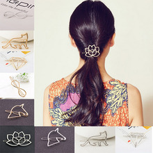 Lotus Geometry Cat Design Exquisite Metal Hair Clips Hairpins Hairwear Accessories For Women Girl Fashion Jewelry Free shipping(China)