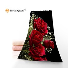 Hot Custom Flower Rose Towel Printed Cotton Face/Bath Towels Microfiber Fabric For Kids Men Women Shower Towels A7.24-1